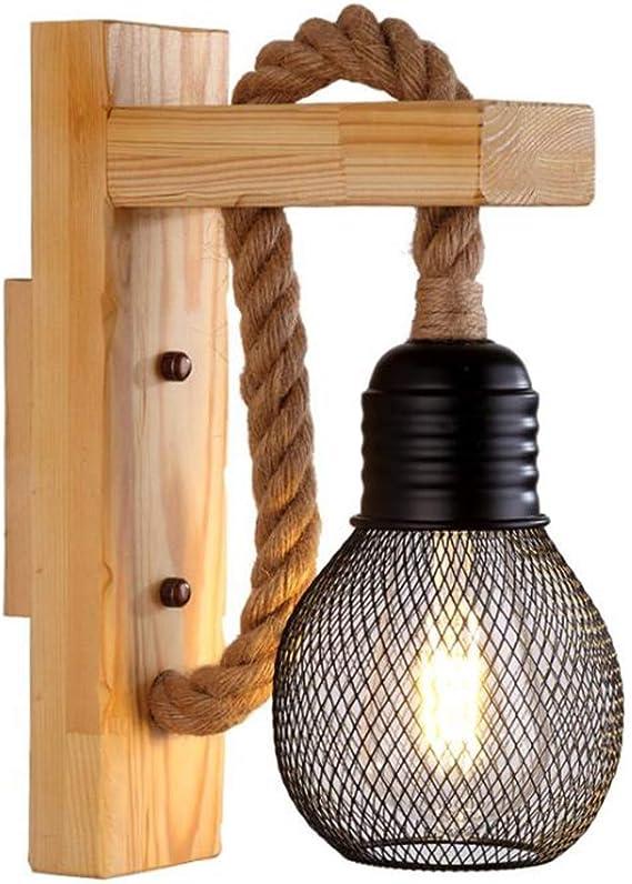 Lampada da parete in legno Industrial Steampunk Style Corda