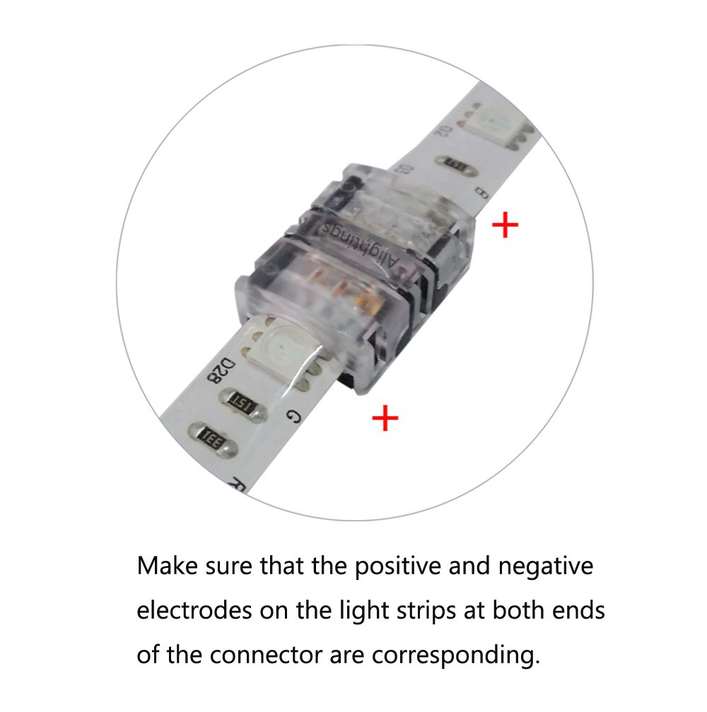 Alightings 4 pin LED Strip Connector for 5050 RGB Waterproof Strip lights,Connect Strip to Strip AC-DJ10BXB-4 Pack of 10