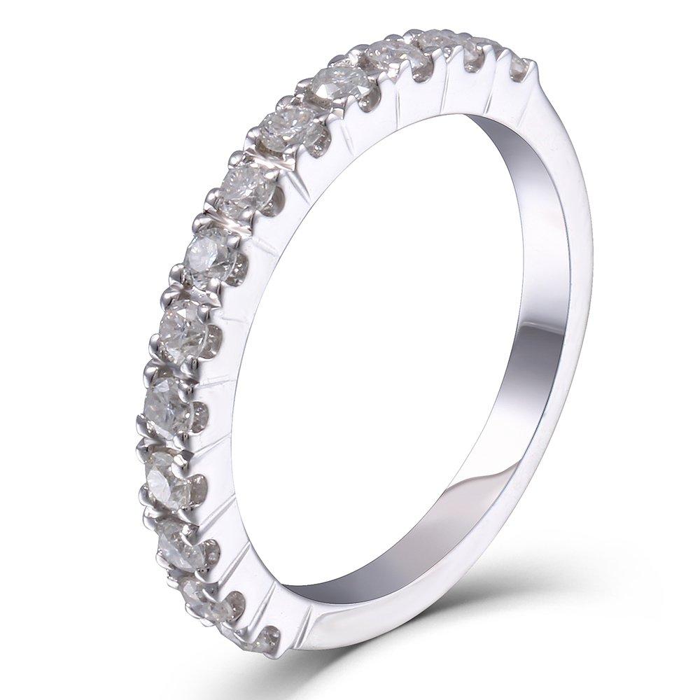 TransGems 0.4CTW HI 2.26mm Width Moissanite Lab Created Diamond Half Eternity Wedding Band Platinum Plated Silver for Women (5)