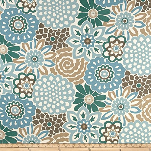 WAVERLY 0458629 Sun N Shade Button Blooms Tide Pool Outdoor Fabric by The Yard, (Floral Fabric Button)