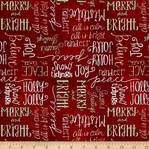 Wilmington Prints Wilmington Frosted Holiday Words Allover Fabric by the Yard, Red (Fabric Cotton Quilt Holidays)