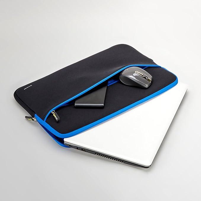 EveCase Maletín para Portátil 15,6 Pulgadas, Maletín para Lenovo Ideapad, Estuche Portátil de Neopreno, (Negro/Azul)