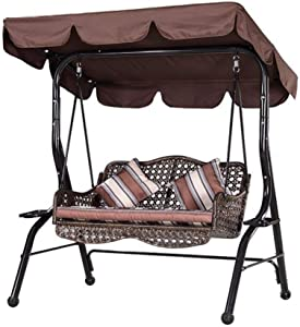 Iptienda Outdoor Patio Canopy Swings Cover, 3-Seater Heavy Duty Canopy Replacement Cover Waterproof Anti-UV Sun Shade for Part Bench Garden Porch Furniture Coffee (77x49x6 Inch)