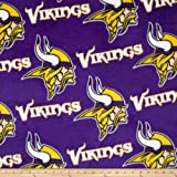 Fabric Traditions 0313547 NFL Fleece Minnesota Vikings All Over Purple Fabric by The Yard