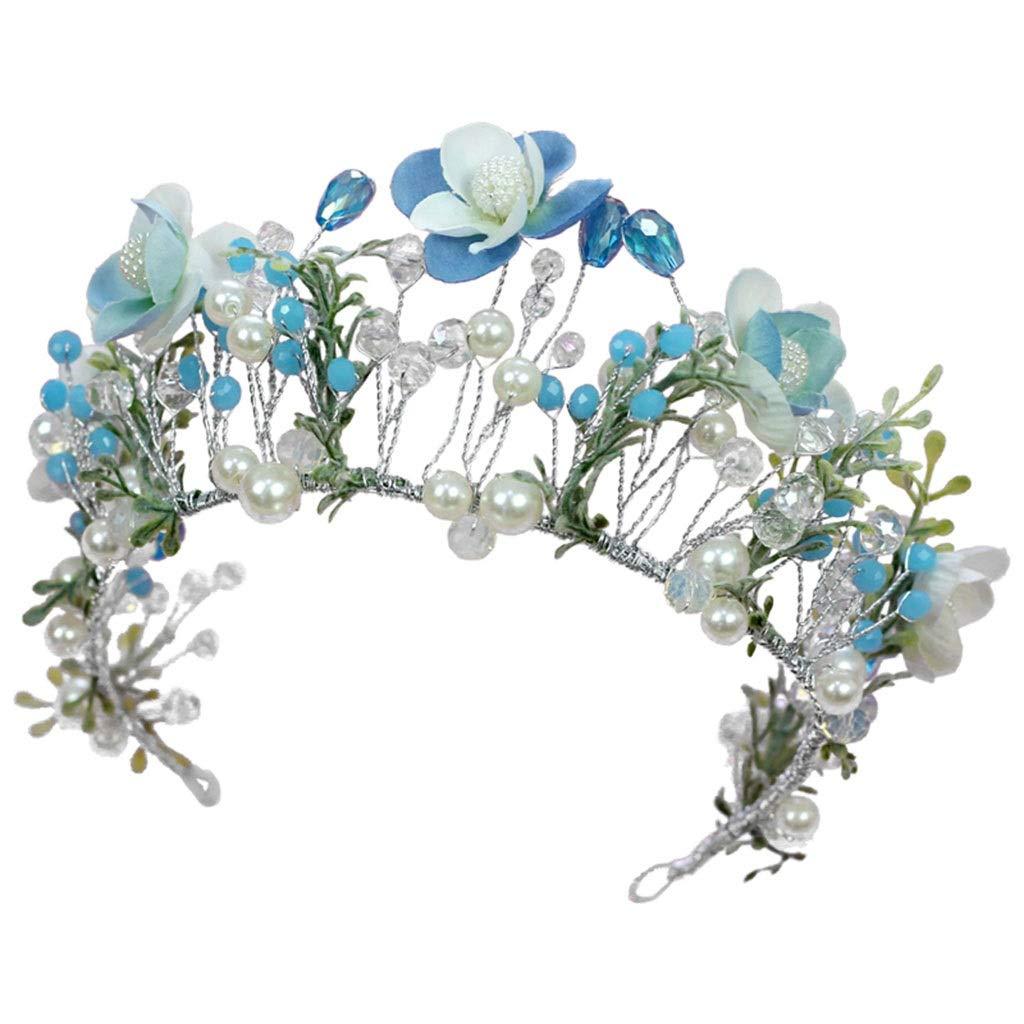Wreath Flower Girl Headdress Crown Blue Crystal Headband Handmade Wedding Bridal Hair Accessories