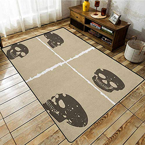 Skid-Resistant Rug,Grunge,Skull Figure on Murky Flat Framework Halloween Crossbones Spooky Monster Image,Ideal Gift for Children,3'11