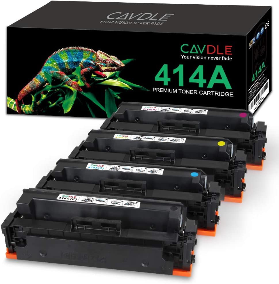 CAVDLE Compatible Toner Cartridge Replacement for HP 414A W2020A W2021A W2022A W2023A for HP Laserjet Pro MFP M479fdw M479fdn M454dn M454dw M479 M454 414X Printer (Black Cyan Yellow Magenta 4-Pack)