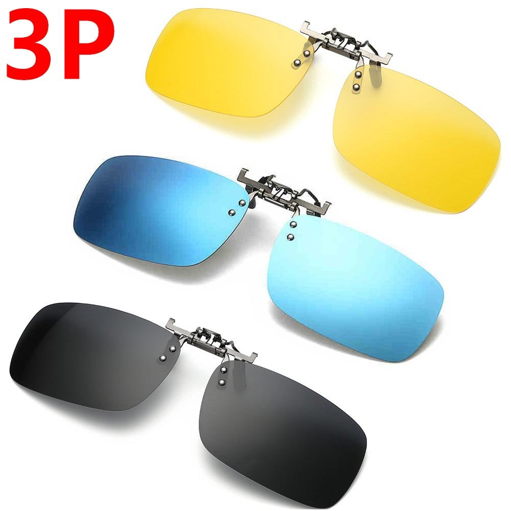 3 PACK, Clip on Flip up Polarized Sunglasses, UV Protection Lens For Prescription Glasses,NEWON Bifocal No frame For men women wayfarer reader sport fishing driving running, Black Blue mirrored Yellow by NEWON