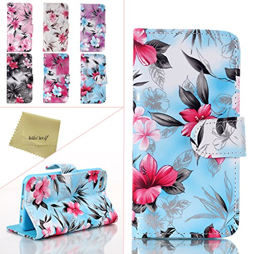 iPhone 5s Case,iPhone 5s Flower Case,iPhone 5s Flower Wallet Case - Wild Wolf Apple iPhone 5s Case PU Leather Magnetic Flap Closure Cover with Flower Pattern Credit Card ID Holders Folio Flip for iPhone 5/5s Cases Cover (Blue)