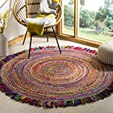 Safavieh CAP206A-3R Cape Cod Collection Ivory and Red Cotton Round Area Rug, 3' Diameter