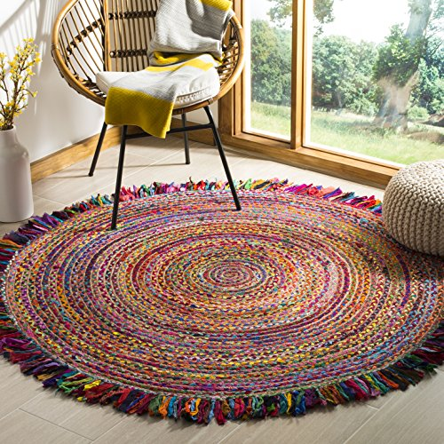 Safavieh Cape Cod Collection Ivory and Red Cotton Round Area Rug, 3' (Rugs 3 Round)