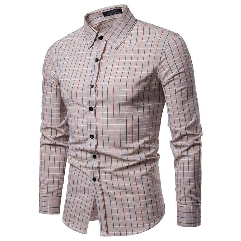 NINGSANJIN Herren-Hemd Der Neue Art-Selbstanbau-Kö rper-langä rmeliges Hemd der Mä nner Mode-Bluse 376