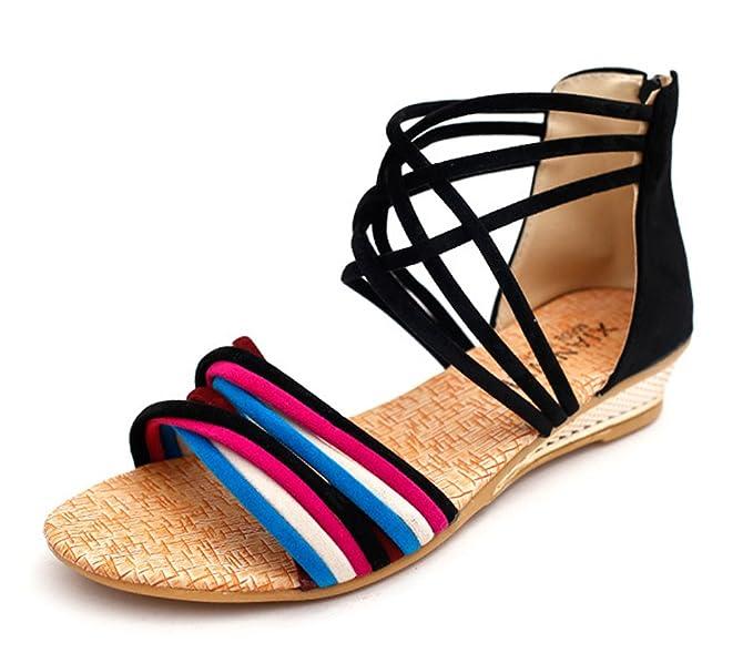 Minetom Damen Sommer Mode Boho Stil Sandals Keilabsatz Gladiator Schuhe Flache Ferse Offene Sandalen