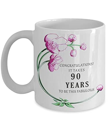 Amazoncom 90th Birthday Gift Idea Mug 90 Th Year Old Happy