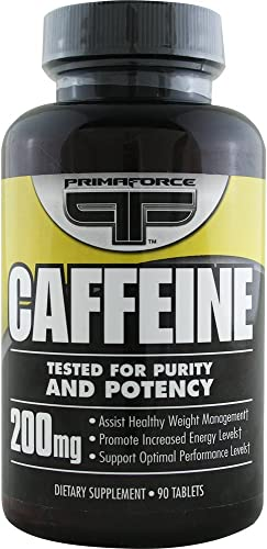 Primaforce Caffeine Tablets 200 mg, 90-Count Bottles Pack of 4