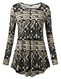 DJT Long Sleeve Tunic for Women, Women's O Neck Long Sleeve Fashion Casual Blouse Top Flowy Tunic Shirt Black Floral #2 XL