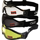 Global Vision 3 Pair Z-33 Padded Motorcycle Riding Skydiving Goggles with Clear Smoke and Yellow Lens