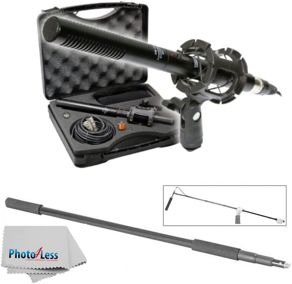 Vidpro XM-88 14-Piece Professional Video /& Broadcast Unidirectional Condenser Microphone Kit with MBP7000 Lightweight Handheld Boom Microphone Pole