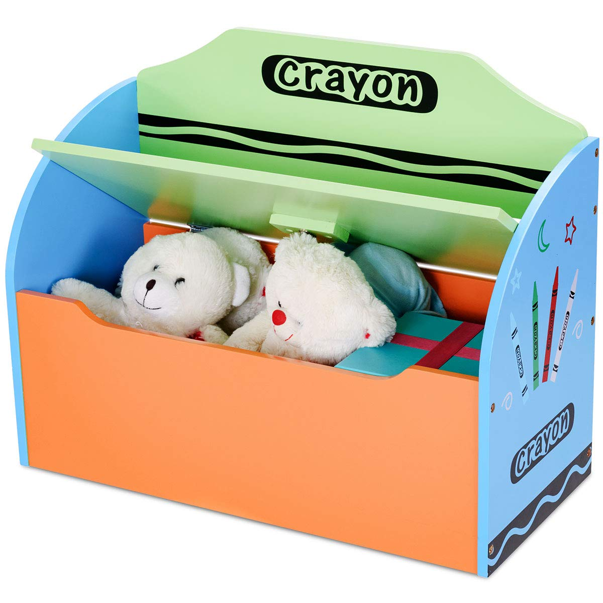 Costzon Toy Box, Wooden Toy Storage Chest Organizer, Entryway Storage Bench for Kids/ with Lid,Crayon Themed