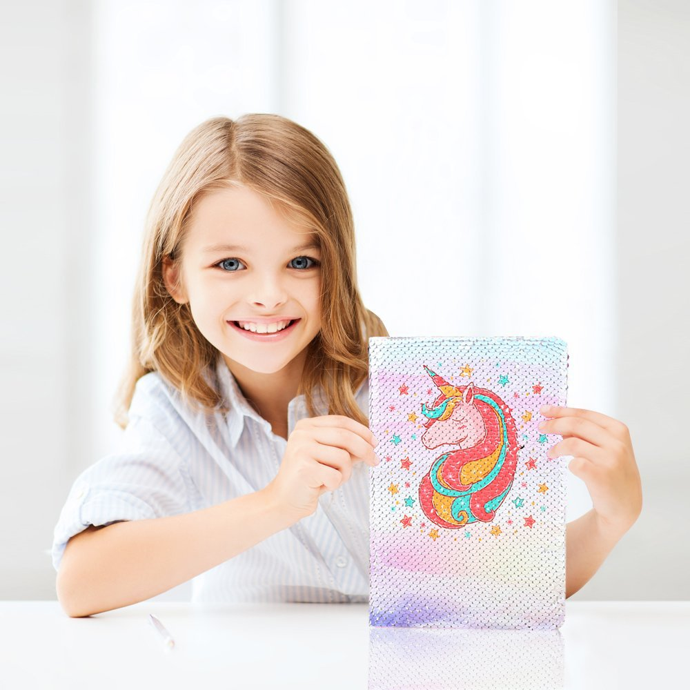 FIGHTA Magic Sequin Journal Reversible Sequin Cartoon Notebook Cute Mermaid Notepad School Diary for Girls Adults Festival Birthday Valentines Day Gifts Unicorn 1