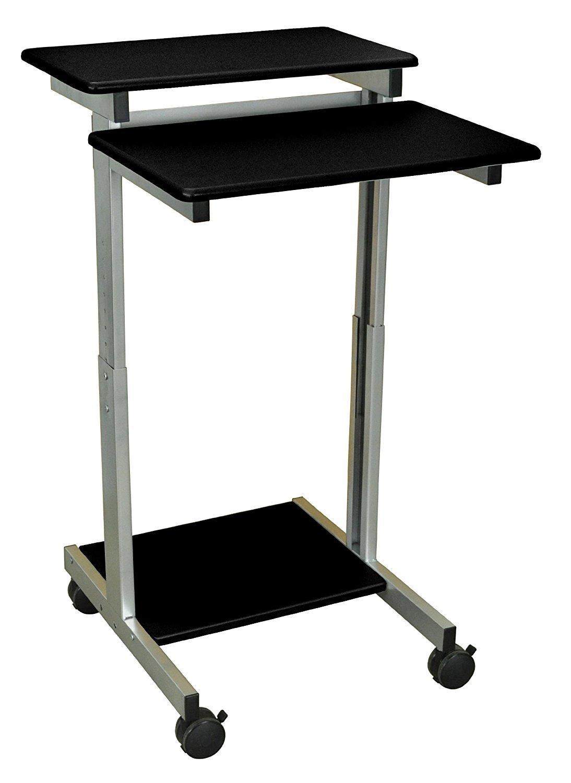 DMD Stand-Up Mobile Workstation, Compact Audio Visual (AV) Presentation Desk for Laptops, Tablets and Projectors or Data Entry, Black