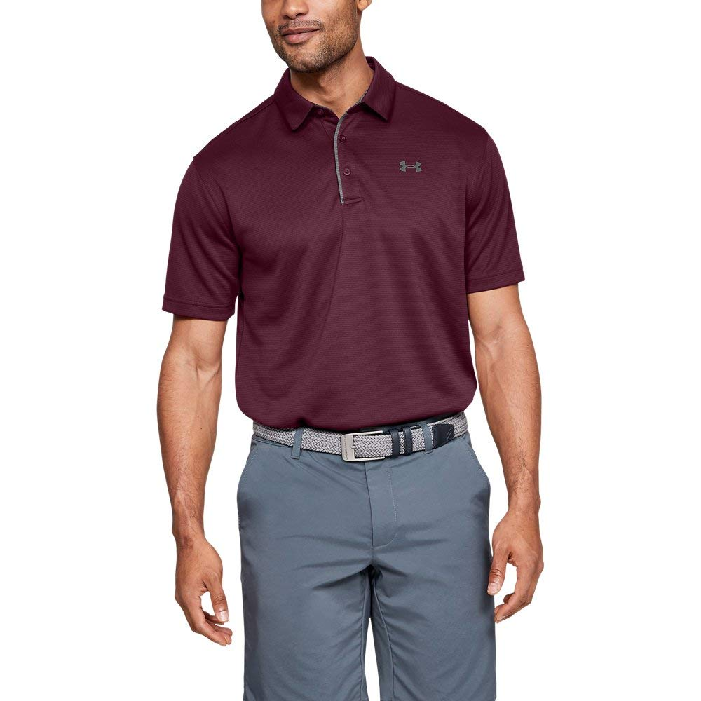Under Armour Men's Tech Golf Polo Shirt, Maroon (609)/Graphite, Small by Under Armour