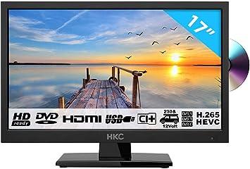 HKC 17H2C: Televisor LED de 43,9 cm (17 Pulgadas) con Reproductor de DVD (HD-Ready, Triple Tuner, Ci+, Cargador de Auto de 12 V, Cargador de Auto de 12 V): Amazon.es: Electrónica