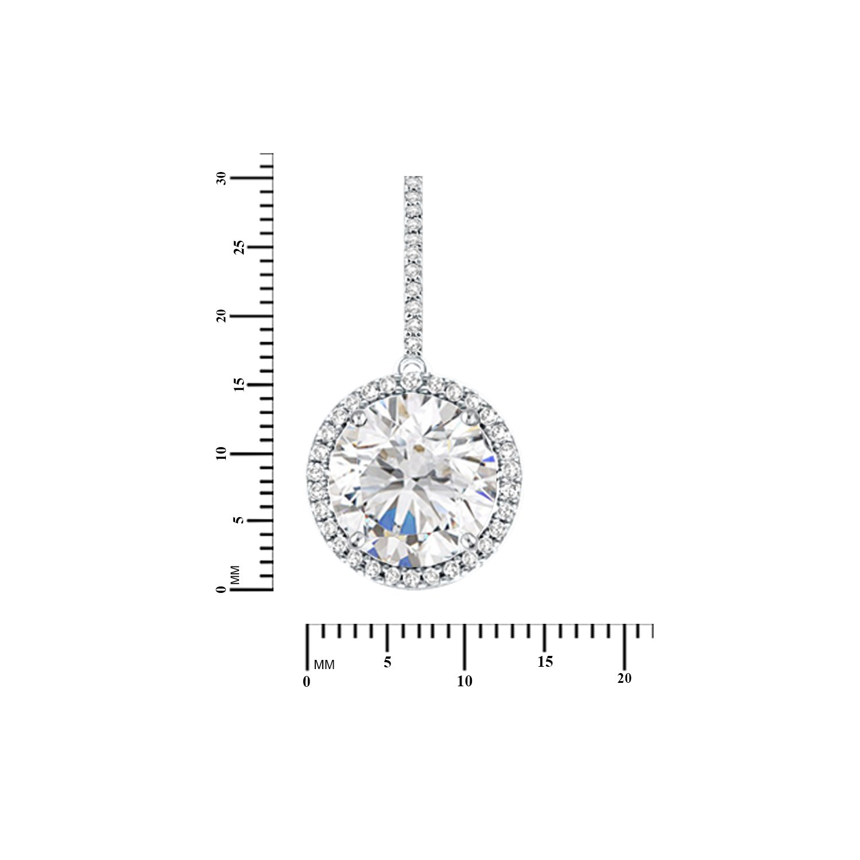 Diamond Scotch 12.60 Ct Cubic Zirconia Halo Dangle Earrings for Women 14k White Gold Finish Best Gift for Women Girl