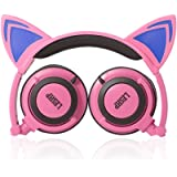 Kids Safe Headphones,LESHP Flashing Glowing Cosplay Fancy Cat 3.5MM Ear Headphones Foldable Over-Ear Gaming Headsets Earphone with LED Flash light - Pink