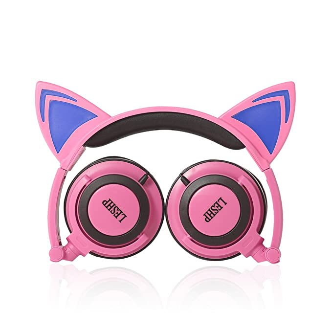 Review Kids Safe Headphones,LESHP Flashing Glowing Cosplay Fancy Cat 3.5MM Ear Headphones Foldable Over-Ear Gaming Headsets Earphone with LED Flash light - Pink