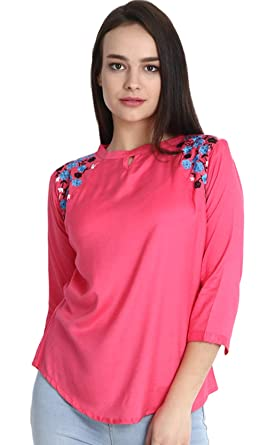 1297cc0bef04 Triumphin Women's Boat Neck Embroidered Rayon Cotton Top (Pink, Small)