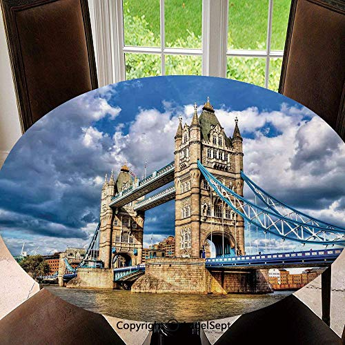 (Elastic Edged Round Tablecloth Historical Tower Bridge on River London UK British Day Time International Heritage Decorative Polyester Washable Table Cover Kitchen Restaurant Party Decoration,)