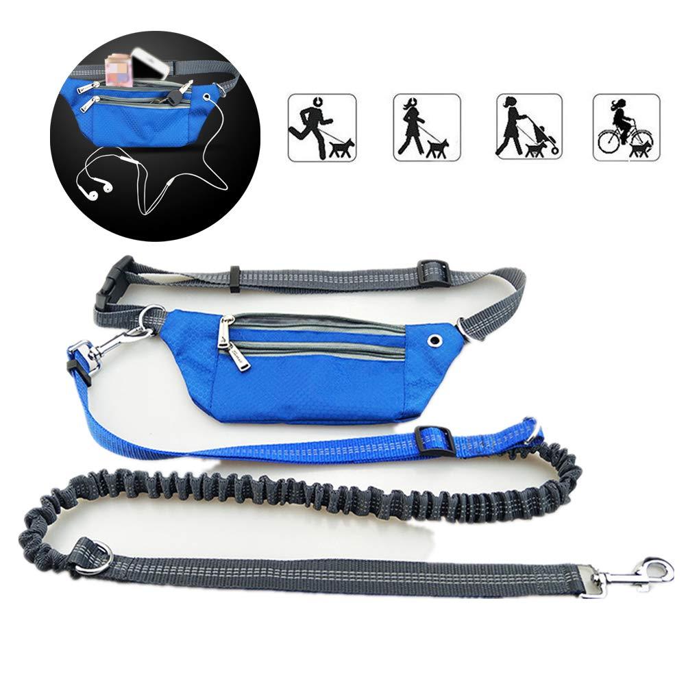 Hands Free Dog Leash,Retractable Running Reflective Leash with Waist Belt Bag
