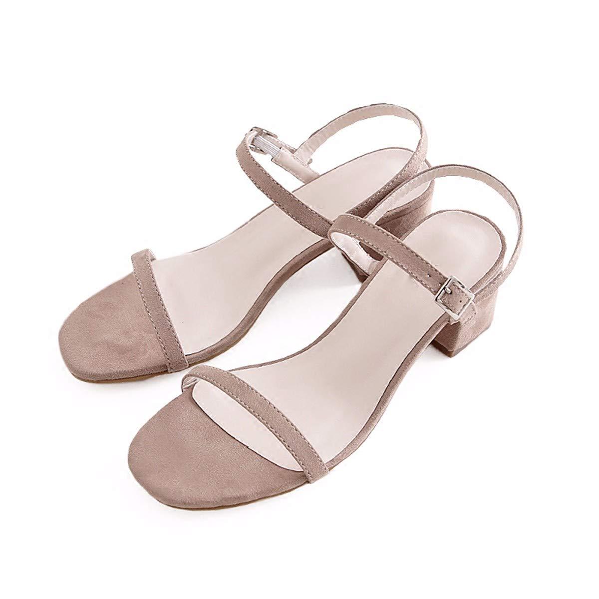 KPHY-Die Roten Sandaleen Der Sommer Mies Temperament Tau Die Wort Schnalle Sandaleen 6 cm 35 Bean Sand Farbe