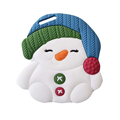 Silli Chews Baby Teething Toys for Pain Relief BPA Free Silicone Easy to Hold, Soft and Highly Effective Cute Snowman Teether Best Unique Holiday Gifts - Teethers Toy for Freezer : Baby