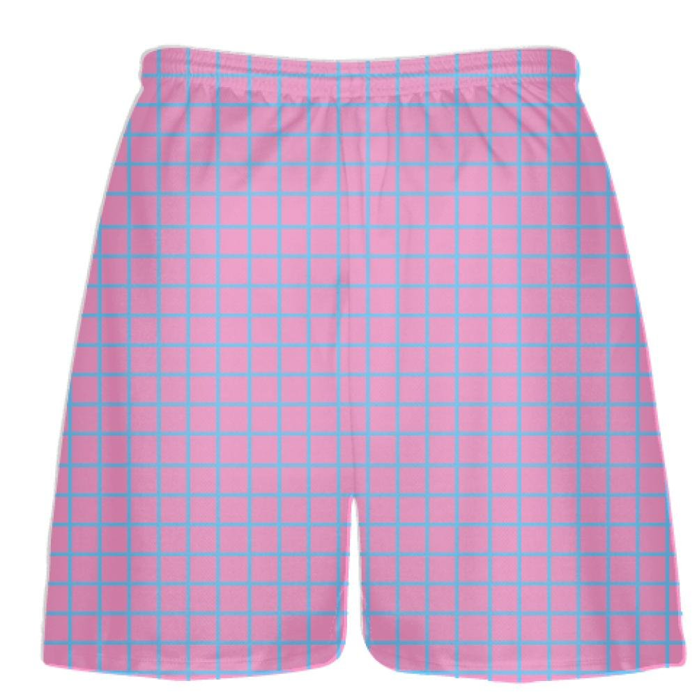 Pink Lax Shorts Youth Lacrosse Shorts Youth Youth Grid Pink Light Blue Lacrosse Shorts Pink