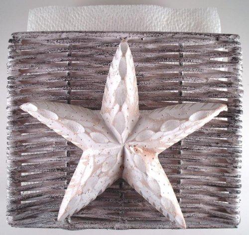 Coastal nautical ocean starfish napkin holder whitewash wicker beachfront decor - Coastal napkin holder ...