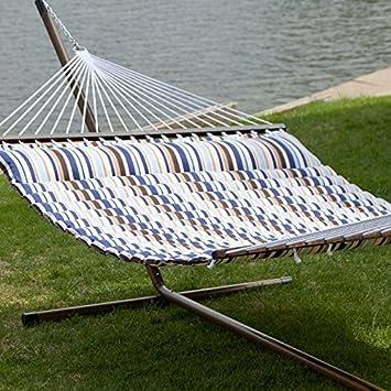 seaside pillow top hammock with faux woodgrain stand   alz357 amazon     island bay 13 ft  seaside pillow top hammock with      rh   amazon