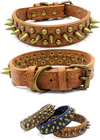 """2/"""" wide Leather Spiked Studded Dog Collar for Pitbull Terrier 11 Colour S M L XL"""