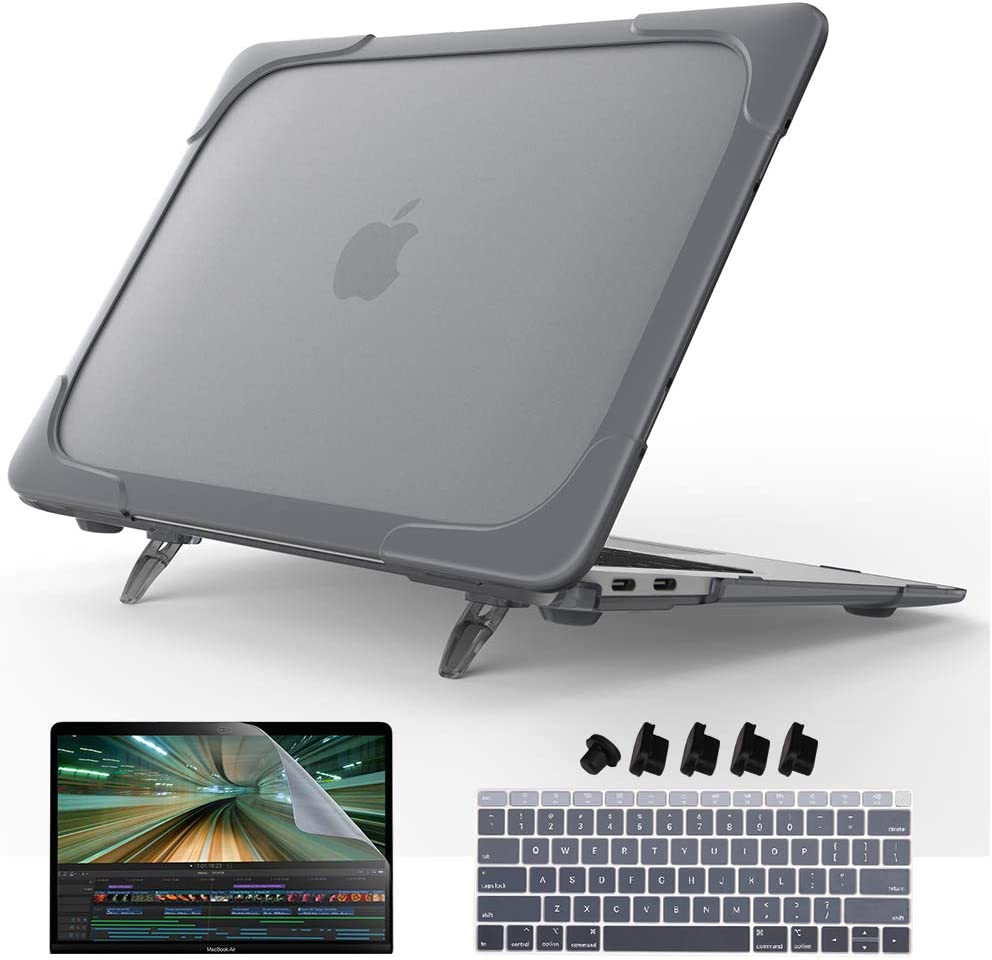 May Chen for New MacBook Air 13 Case 2018 2019 Release A1932, [Heavy Duty][Dual Layer] Hard Case Cover with Plastic Bumper for Apple MacBook 13 Inch with Retina Display fits Touch ID (Black)