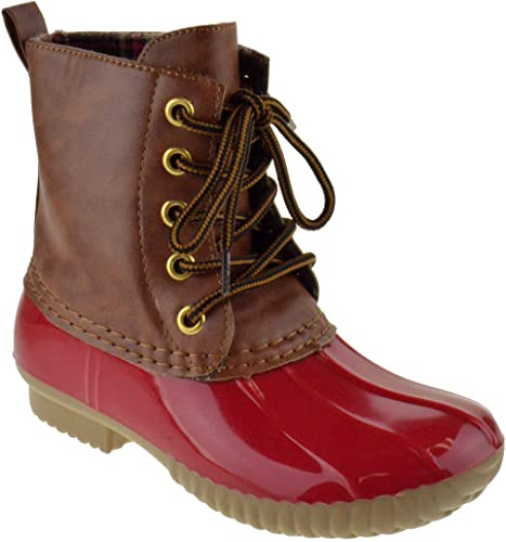 Girls Two Tone Lace Up Rain Duck Boots