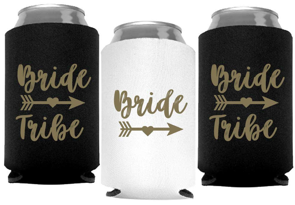 Bride Tribe Can Coolers for Bachelorette Party, Set of 12 White and Black Beer Can Coolies, Perfect Bachelorette Party Decorations and as Brides Maid Gifts