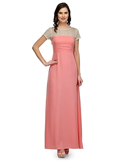 Image result for peach pink crepe gown