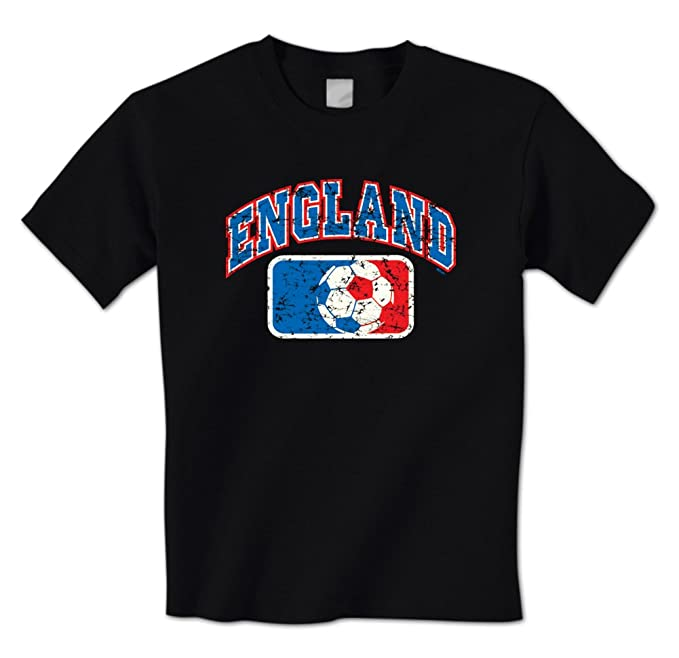 b48ee2607 Distressed England Soccer Ball League Banner -English Flag Colors Mens T- Shirt (Small
