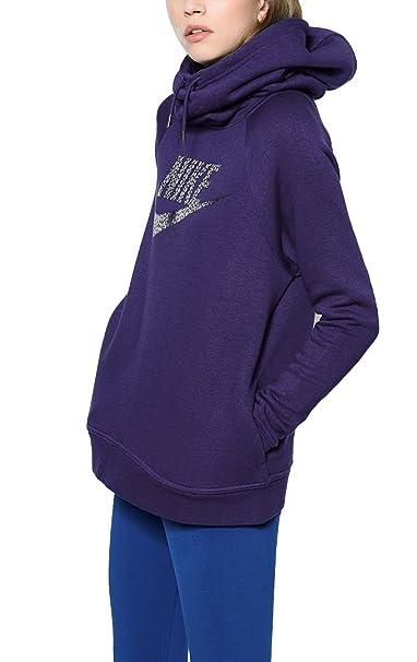 adcb74e32de6 Nike Women s Metallic Sportswear Rally Funnel Neck Hoodie 829634 (Small