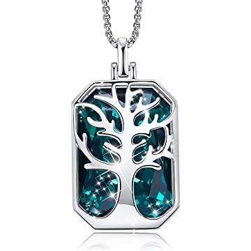 CDE Tree of Life Necklace for Women 18K White Gold Plated Pendant Necklaces Embellished with Crystals from Swarovski Jewelry Gifts for Women
