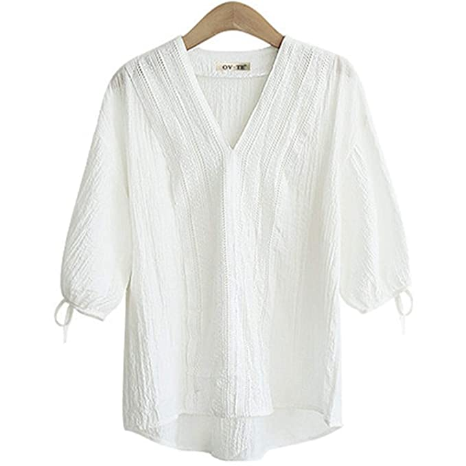 62d38b7a4fd81 Shirts Women Textured Tops V Neck Button Down with Pocket Loose T Shirt  Plus Size (