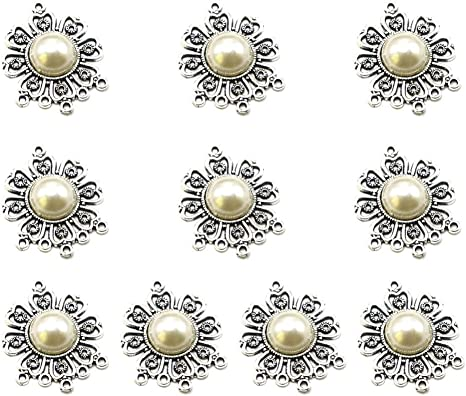 10pcs Vintage Floral Flowers Pendant Necklace DIY Jewelry Making Accessory