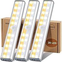 20 LED Kastverlichting met Bewegingsmelder, USB Oplaadbare Batterij Aangedreven 3 kleur-Modi Nachtlampje met…