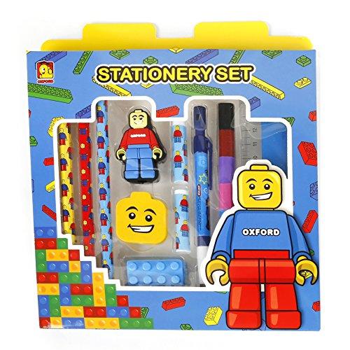 Brick Figure Design Pencil Stationery, Sharp, Pencil, Cap, Ruler, Eraser, Color Pencil Set for Kids, Children (StandardBlue)